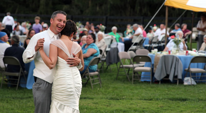 This is what love looks like. The bride and groom lose themselves in a dance during the reception.