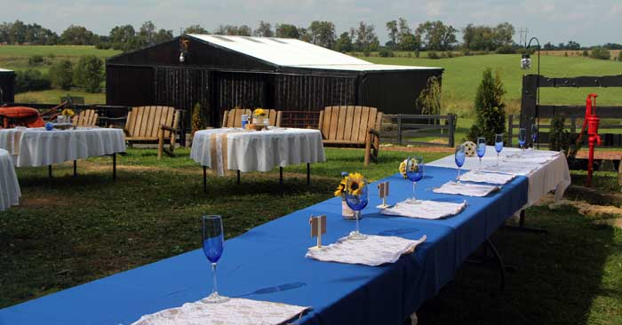 reception at KY wedding farm